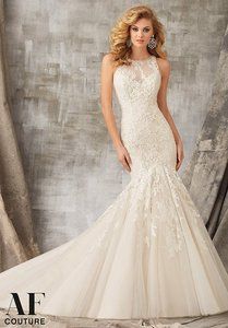 Mori Lee Ivory/Latte Lace/Satin 1345 Formal Wedding Dress Size 12 (L)