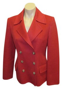 Michael Kors Angora/wool/cashmere Double Breasted Size 6 Red Blazer