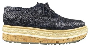 Prada Cork Woven Leather Platform Italian Navy Flats