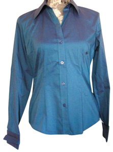 New York & Company Button Down Shirt Blue/Purple