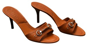 Dior Christian Leather Heels Brown Sandals