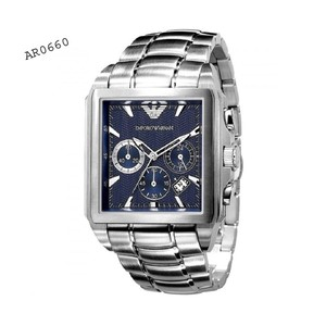 Emporio Armani Emporio Armani Mens AR0660 Silver Stainless-Steel Watch with Blue Dial