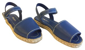 Prada Peep Toe Leather Espadrille Blue Sandals