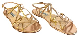 Prada Leather Rose Gold Flat Gold Hardware Metallic Sandals