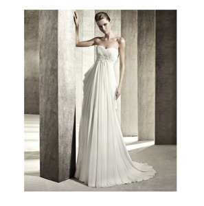 Pronovias Off White Chiffon Jamaica Destination Wedding Dress Size 10 (M)