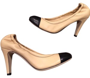 Chanel Two Tone Stretch Heels Beige, Black Pumps