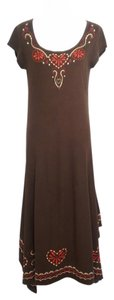Brown Maxi Dress by Johnny Was Cotton Stretchy Summer Festival Boho