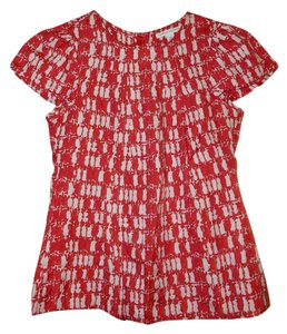 Banana Republic Cap Sleeves Silk Blend Painterly Print Abstract Top Red/Ivory