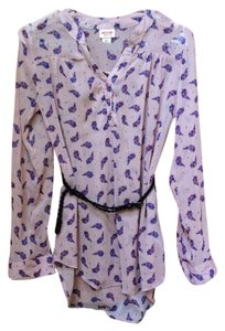 Mossimo Supply Co. Button Down Shirt Light Pink with Purple Flowers