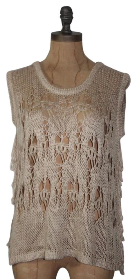 Anthropologie Beige Willow Clay Crochet Fringe Vest Size 8 M