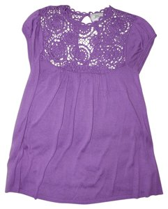 Milly of New York Bamboo Silk Crochet Cap Sleeve Top Lavender