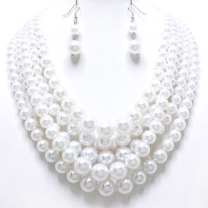 Fashion Chunky White Pearl Multi layer Bridal Wedding Evening Necklace and Earring