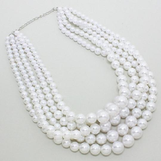 Other Fashion Chunky White Pearl Multi layer Bridal Wedding Evening Necklace and Earring