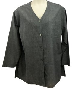 J. Jill Gray Wool Blouse Button Down Shirt