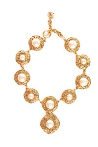 Chanel Adjustable Gold & Faux Pearl Medallion Necklace