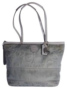 Coach Signature Stitch Quilted Heart Patent Leather Tote in Gray