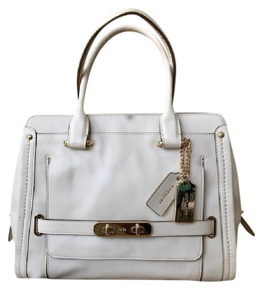 Coach Swagger Frame White Leather Satchel - Tradesy