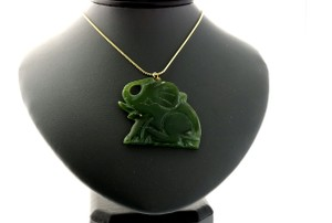 100% Real Jade Elephant Pendant On A Yellow Metal Chain