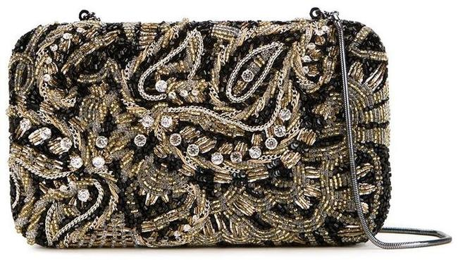 Item - Paisley Embroidery Black Gold Beaded Clutch