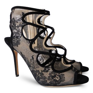 Jimmy Choo Lace Suede Strappy Open Toe Black Sandals