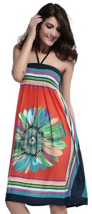 FREE SHIPPING New's Retro Multicolor Strapless Dress Orange Item No. : LC2883-2