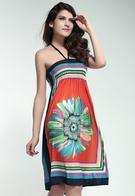 Other FREE SHIPPING New's Retro Multicolor Strapless Dress Orange Item No. : LC2883-2