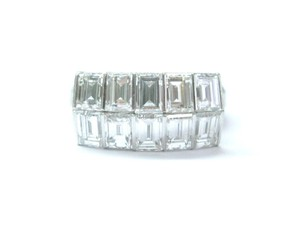 Other Platinum Emerald Cut Diamond 10-Stone 2-Row Band Ring 3.33CT