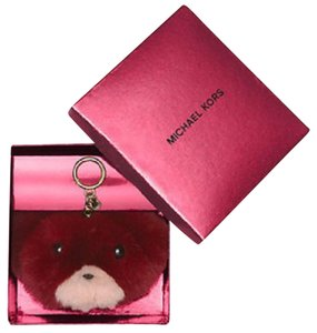Michael Kors Teddy Bear Pom Pom Keychain Bag Charm Rabbit Fur