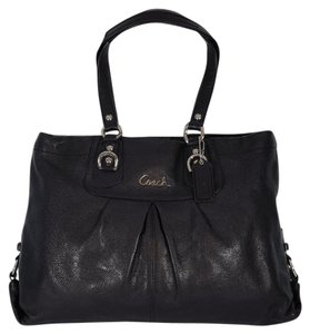 Coach Leather Pleated Carryall Ashley Silver Hardware Tote in Black