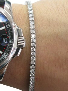 Other Platinum Round Cut Diamond Bezel Set Tennis Bracelet 7