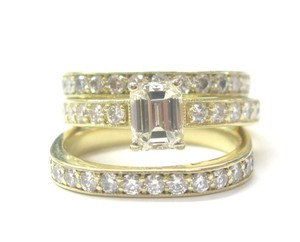 Other 18Kt Emerald Cut Diamond 3-Ring Wedding Set YG Solitaire W Accents 2.2