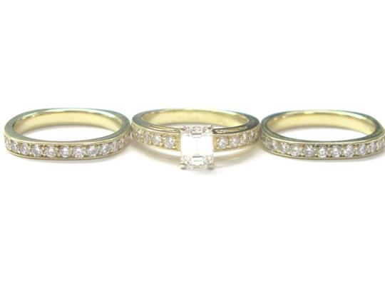 Other 18Kt Emerald Cut Diamond 3-Ring Wedding Set YG Solitaire W Accents 2.2 Image 1