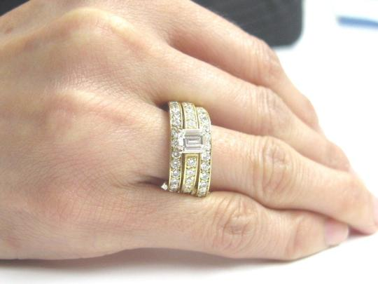 Other 18Kt Emerald Cut Diamond 3-Ring Wedding Set YG Solitaire W Accents 2.2 Image 3