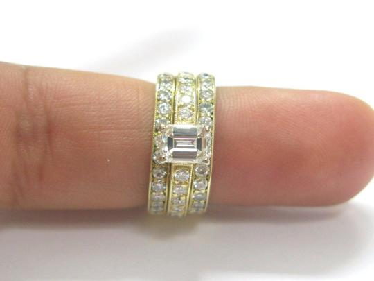 Other 18Kt Emerald Cut Diamond 3-Ring Wedding Set YG Solitaire W Accents 2.2 Image 4