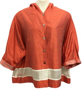 Ellen Tracy Linda Allard Orange Silk Top