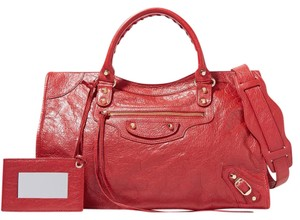 Balenciaga Classic Gold City Medium Tote in Red