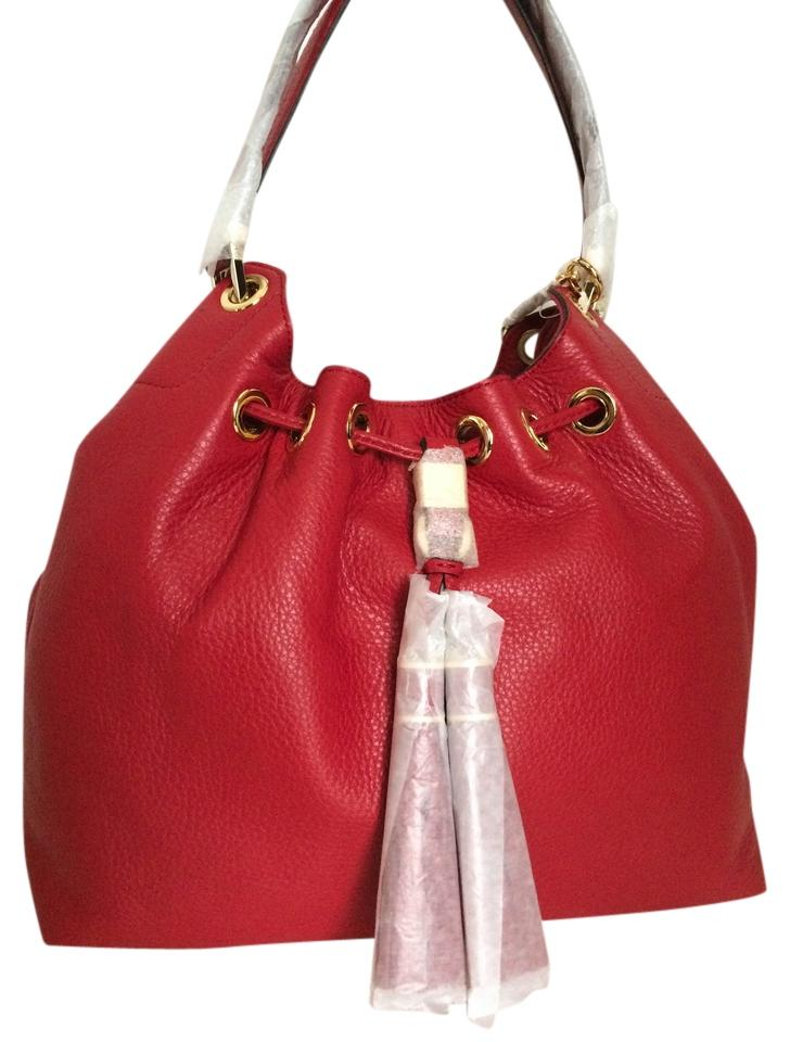 03ab1096a2f2 Michael Kors Large Drawstring Tote Red Leather Shoulder Bag - Tradesy