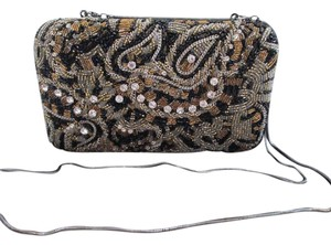 Alice + Olivia + Beaded Chain Brown Clutch