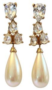 Dior White Teardrop Pearl and Crystal Post Earrings In Gold