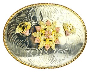 Comstock * Collectible Comstock German Silver / Multi Color Gold Accents Buckle