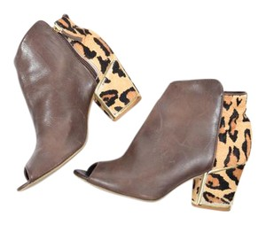 Klub Nico Leather Open-toe Leopard Anthropologie Brown Boots