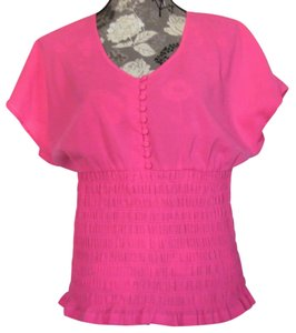 Apostrophe Ruched Black Top Pink