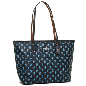 Coach Tote Tote Black Leather Floral Flowers blue Travel Bag