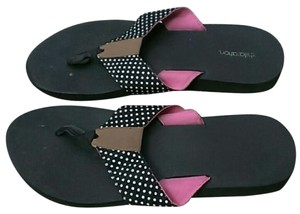 Xhilaration Flip Flops Polka Dot Summer Black and White Sandals
