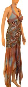 Alberto Makali Evening Brown Animal Dress