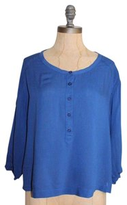 Ecote Button Down Relaxed Cobalt Top BLUE