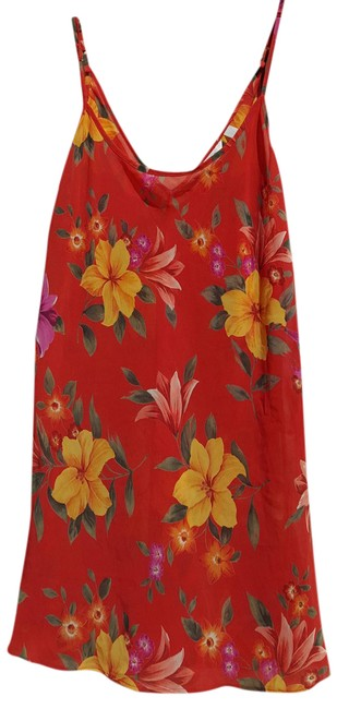 Item - Orange Floral Multicolor Swimsuit Cover-up Polyester Tunic Size 10 (M)
