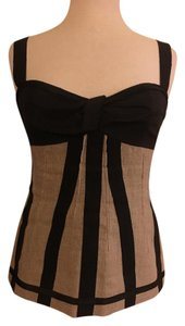 Dolce&Gabbana Bustier Linen Striped D&g Top Beige Black