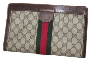 Gucci Cosmetic /clutch Velcro Top Closure Mint Vintage Accessory Col. Great Everyday brown leather/large G logo print coated canvas & red/green stripe Clutch