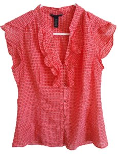 Banana Republic Short Sleeve Ruffle Top orange